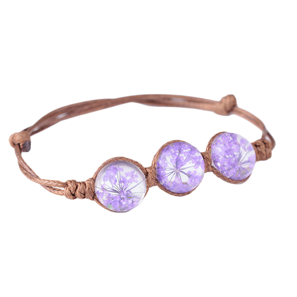 2017 New Spring & Summer Boho Style Vintage Dried Flowers Glass Ball Bracelet Weave Lucky Grass Bracelets Wholesale Jewelry
