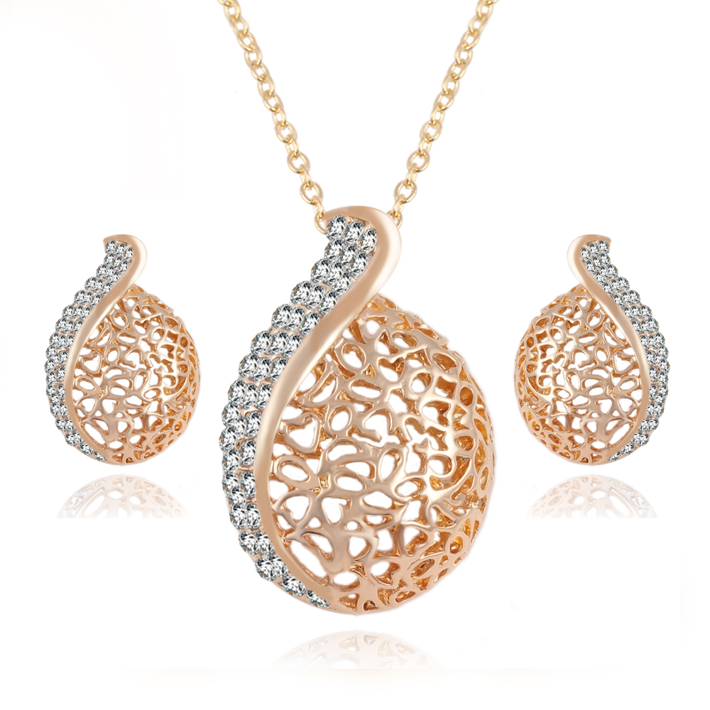 17km Elegant Penntes Austrian Crystal Chain Jewelry Sets Gold Color Pendant Necklace Earrings Set For Women Party In From