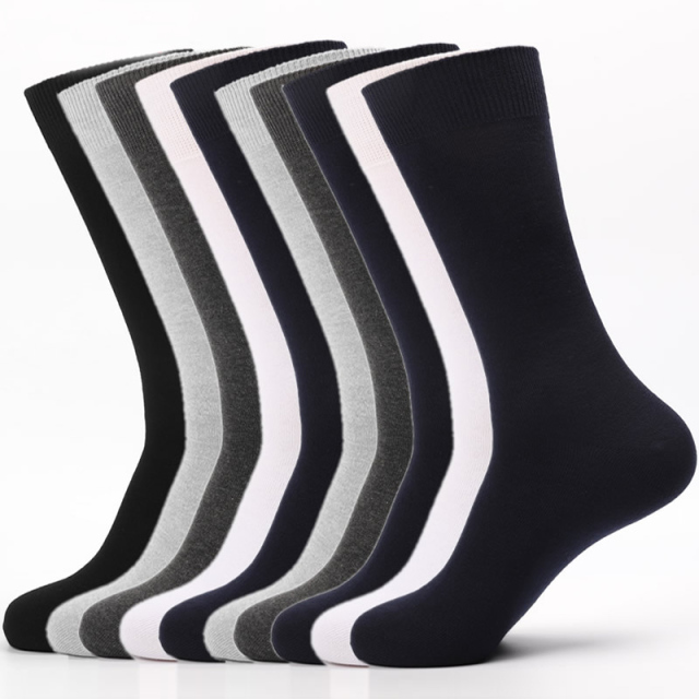 100% Cotton Men Ankle Dress Breathable Soft White Black Long Socks 5 Pairs
