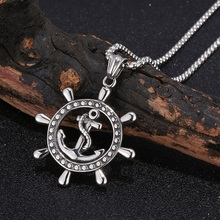 New Vintage Caribbean Pirate Rudder Anchor Pendant Mens Necklace Personalized Stainless Steel Jewelry Gift ST0433