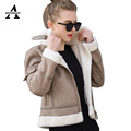 Thic Suede Jacket Women Faux Leather Jacket 2016 Autumn Winter Lambs Wool Short Motorcycle 5 Colors JS130300110