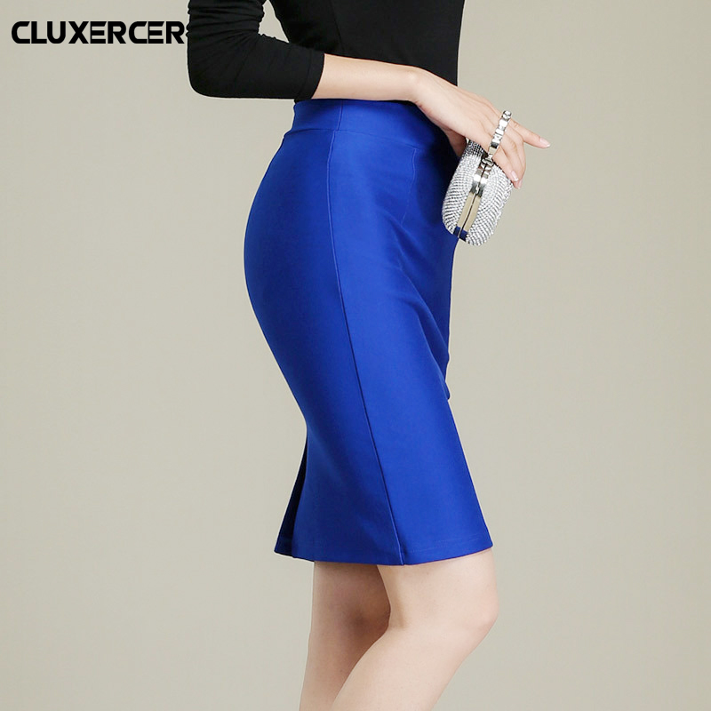 Skirts womens 2018 New Casual Office Skirt Women Slim Knee Length High Waist Stretch Straight Pencil Skirts