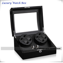 Luxury Black Leather & Wood Automatic Rotation four + 6 Watch Winder Storage Display Case Box Best Gift GC03-D31BB