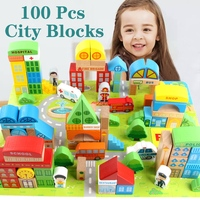 100Pcs Baby Toys Big Size City Traffic Scenes Geometric Shape Wooden Juguetes Building Blocks Early Educational Wooden Toys Gift