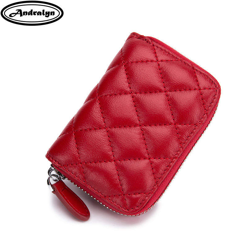 Andralyn Trendy Sheepskin Genuine Leather Card Holder Wallet Women Card Pack Real Leather Zipper Credit CardHolder Change Purse ...