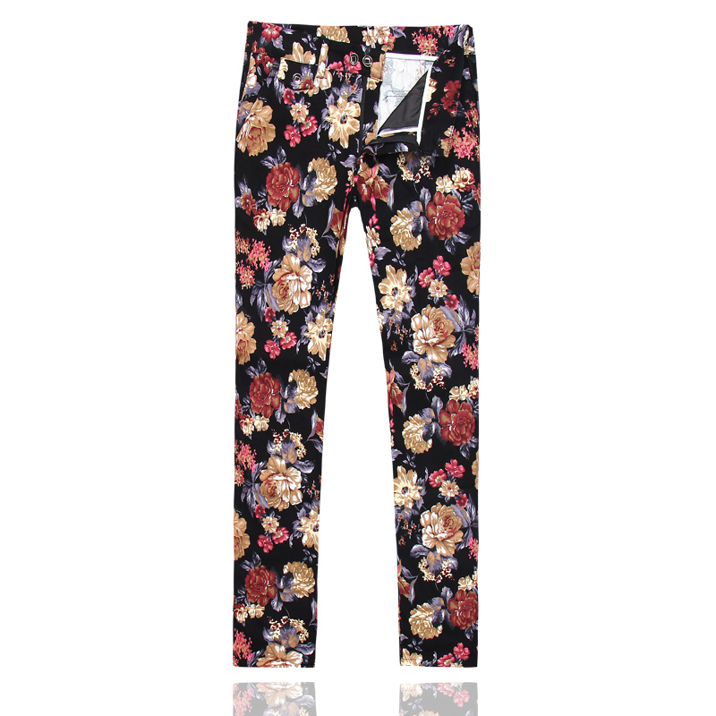 2019 new mens flower pants slim fit casual trousers Asian size S-5XL pant