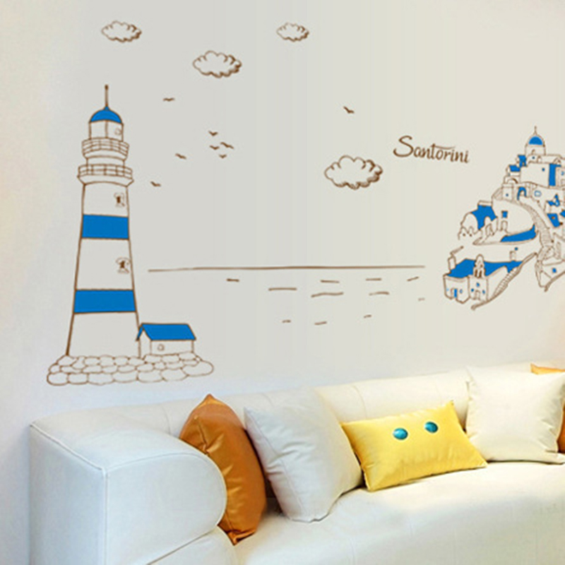 Small fres Mediterranean <font><b>Style</b></font> blue Lighthouse castle wall stickers <font><b>Fashion</b></font> wallpaper for bedroom <font><b>creative</b></font> decor for living room