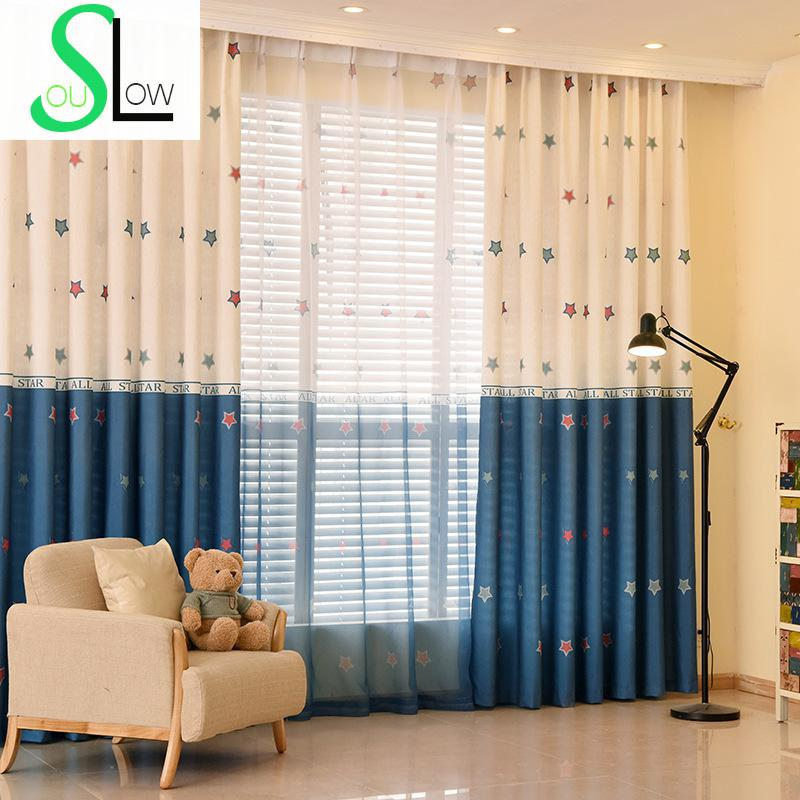 Stars printed curtain for children living room volie tulle for Cortinas infantiles