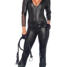 Женский сексуальный костюм кошки на Хэллоуин, комбинезон из искусственной кожи с вырезами на груди, боди на молнии, костюм кошки для костюмированной вечеринки