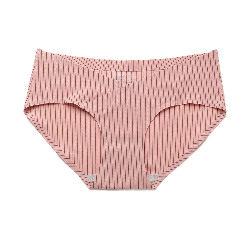 Summer Ice Silk Panty Ladies Sexy Patchwork Seamless Underwear Comfortable Breathable Invisible Briefs Low-rise Striped Briefs