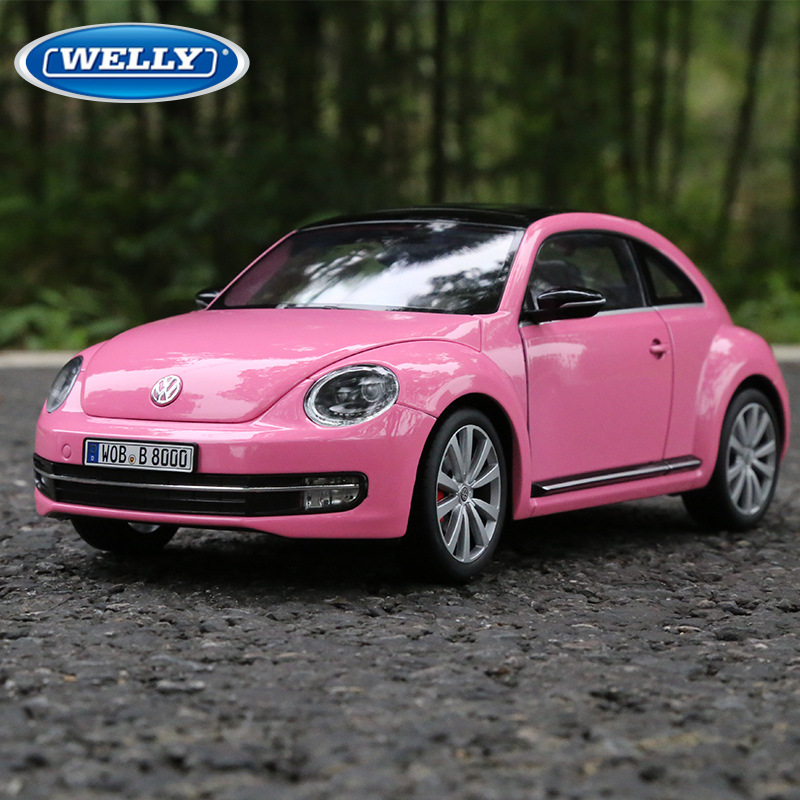 Mikidual Die-cast Alloy Car Models Children Metal Vehicle Toys Fx1:18 2013 Vw Beatle Collectable Cars Home Decor In Box