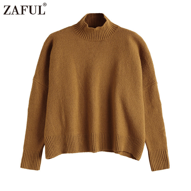 3bf889821b3 ZAFUL High Quality Turtleneck Warm Sweater Women Solid Brown Color Elastic  Pullovers Jumpers Autumn Winter Casual Loose Knitwear
