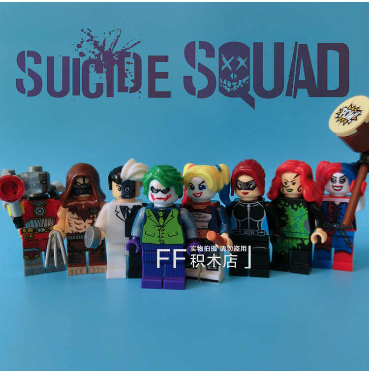 8pcs Suicide Squad Deadshot Poison Ivy Joker Harley Quinn Two Face Scarecrow Figure Compatible With Lego Block
