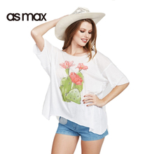 asmax 2017 Summer Casual Women T-shirt Loose Solid White Sexy Backless O-neck Tops Sweet Floral Printed Female Chic T-shirt