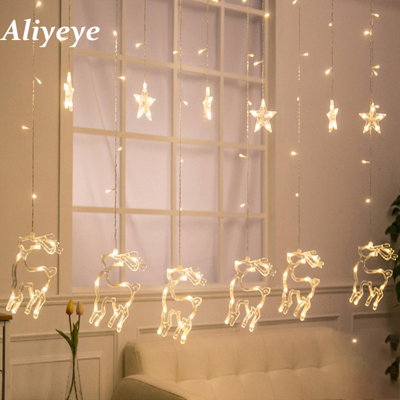 New Christmas Tree / Sika Deer Shape LED Curtain Lights Wedding Birthday Party Garland Curtain Lights
