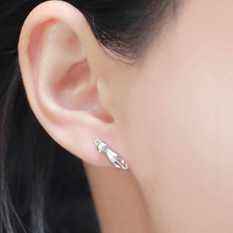 2018 nouveau mode argent boucles d'oreilles 925 Sterling chat argent boucles d'oreilles bijoux pour femmes déclaration boucles d'oreilles