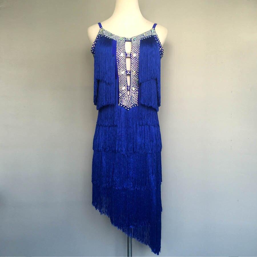 Áƒ¦ Áƒ¦neue Stil Latin Dance Kost Steine Quaste Kleid Frauen Wettbewerb Kleider Xl W163