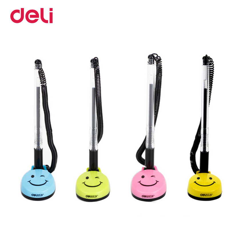 Deli gel pen smile face black ink kawaii stationery pen cute ballpoint office & school supplies stationery for writing 0.5mm pen