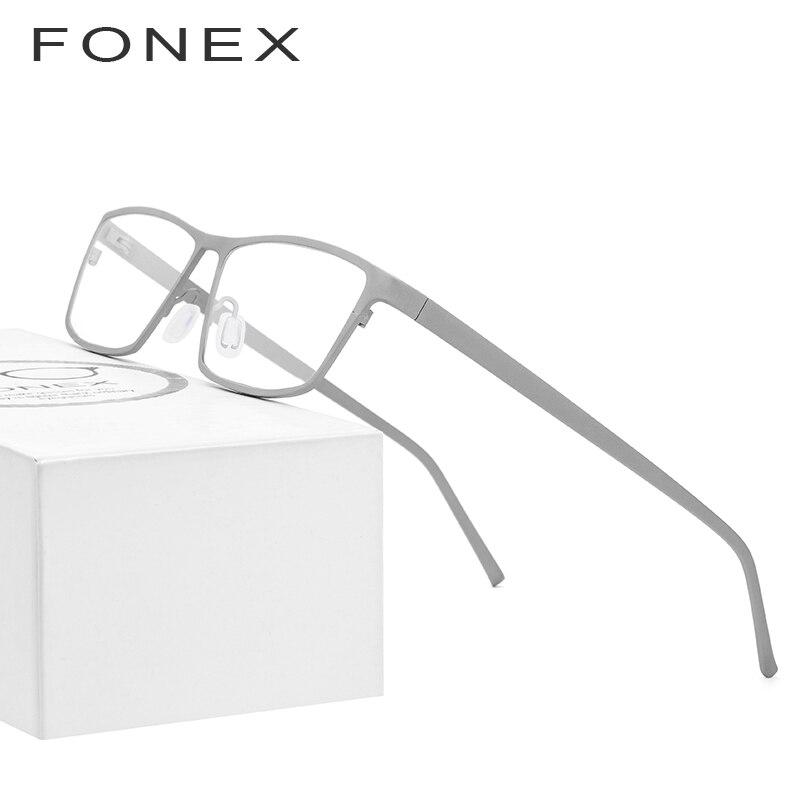 Titane pur lunettes cadre hommes 2019 nouvelles lunettes de vue Prescription pour hommes lunettes carrées hommes myopie optique montures lunettes - 3