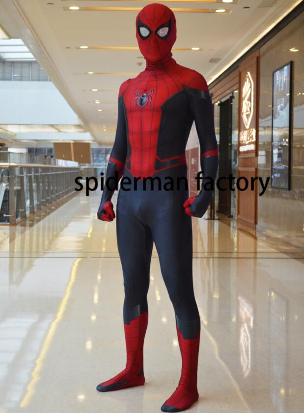 New Adult Kids Spiderman Far From Home Peter Parker Cosplay Costume Spandex Printing Spider-man Zentai Bodysuit