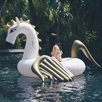 HOT selling 250cm 98 inch Giant Inflatable Gold Unicorn Water Pool Floats White Pegasus Float Swimming Sunbath Air Mattress Bed