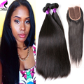 Brazilian Virgin Hair With Closure Brazilian Virgin Hair Straight With Closure 3 Bundles With Closure Human Hair With Closure