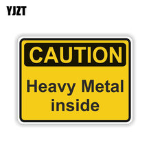 YJZT 12,7 CM * 9,5 CM Zubehör VORSICHT SCHWERE METALL INNEN Warnung PVC Aufkleber Auto Aufkleber 6-1996