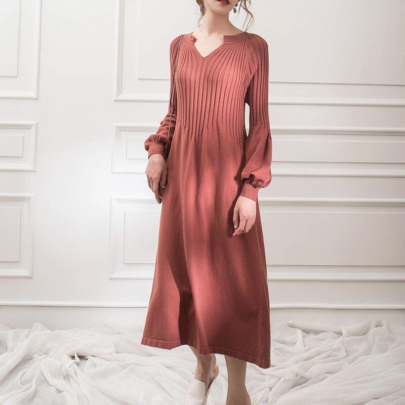Vestido de punto de cuello en V manga larga de color sólido asic vestido mori chica 2018 otoño