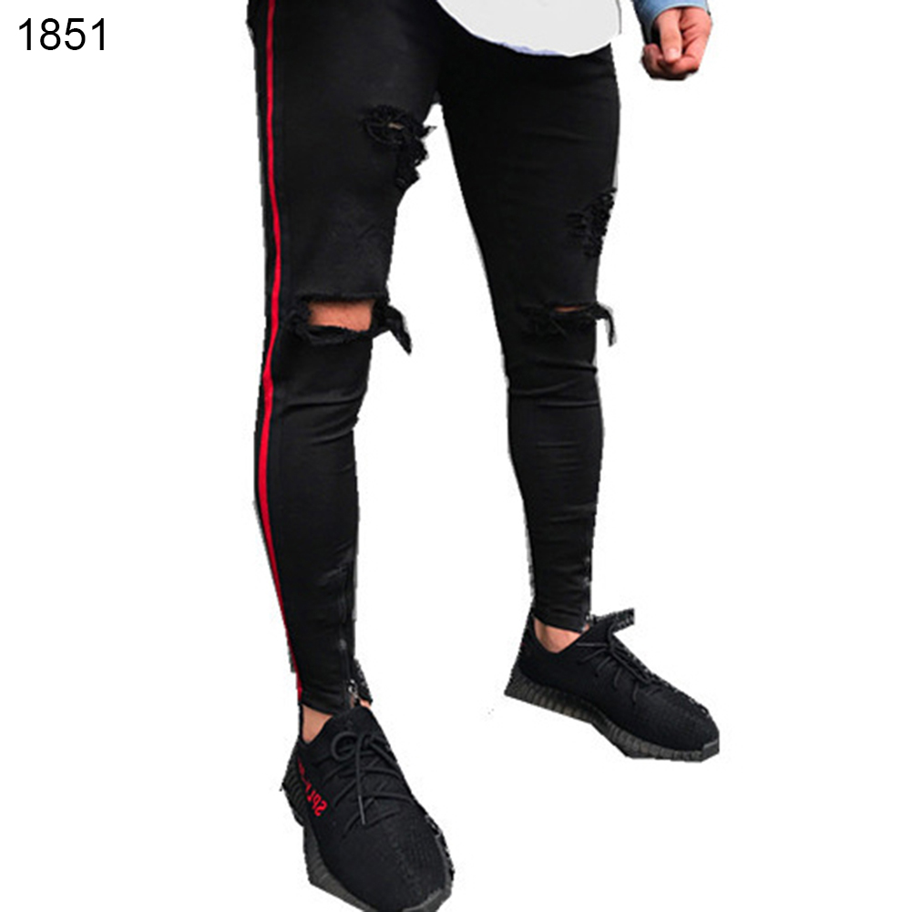 Fashion Ripped Jeans Cotton Pants Men Straight Frayed Hole Elastic Long Trousers