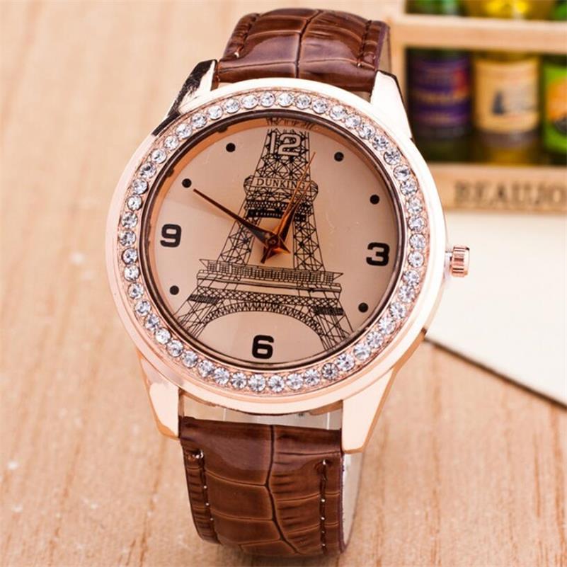 MINHIN Fashion Rhinestone Gold Watch Women Eiffel Tower Design Ladies Charm Bracelet Wristwatches Leather Band Quartz Watch