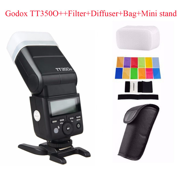 Godox TT350O 2.4G HSS 1/8000s TTL GN36 Camera Flash Speedlite for Olympus / Panasonic Mirrorless Digital Camera+Filters+Diffuser