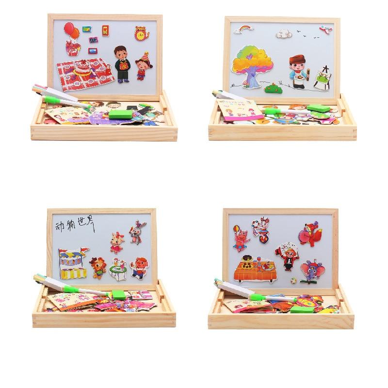 4 Type Houten Speelgoed Educatief Puzzel Boerderij Jungle Dier Kinderen Jigsaw Baby Magnetische Tekening Schildersezel Board Verf Kras Arts
