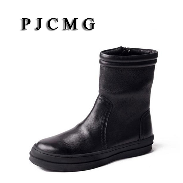 PJCMG Moda Sonbahar/Kış Fermuar Sivri Burun Hakiki Deri Resmi Orta Buzağı Askeri Charm Düşük Topuklu Kar Erkekler çizmeler