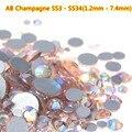 O Envio gratuito de 1440 pçs/saco ss20 Cristal ab ss3 ss6 Champagne Cristal Prego ss3-ss30 (1.2mm-7.0mm) telefones Nails Art Decorações