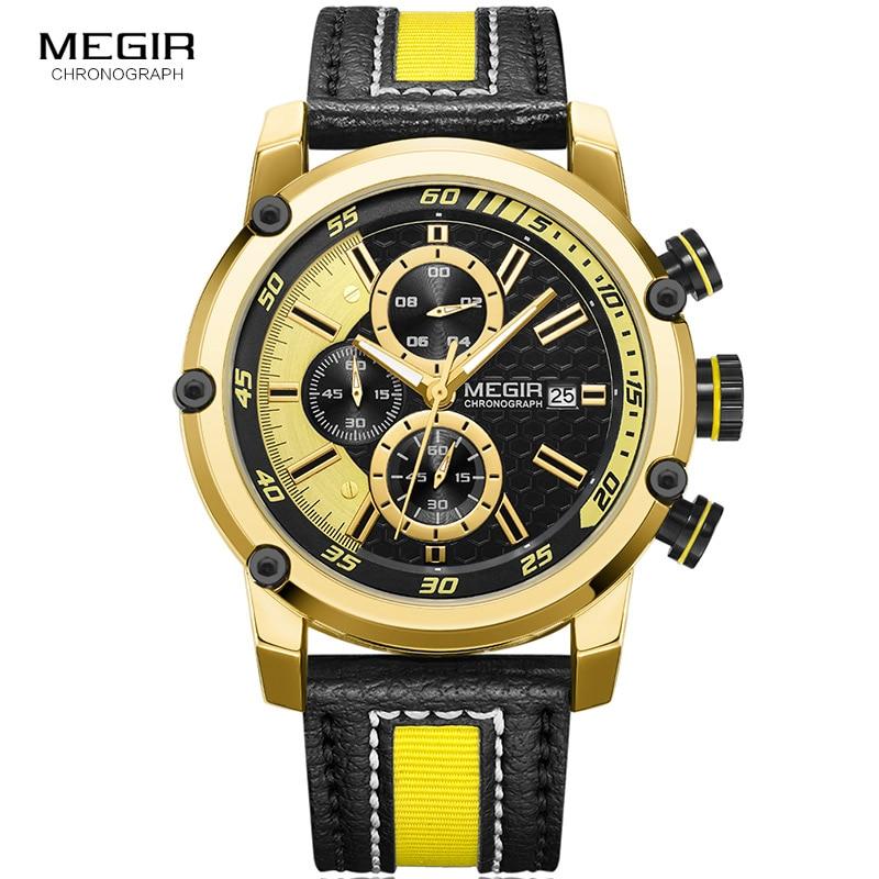MEGIR Men's Watches Leather Strap Sports Chronograph Fashion Waterproof Luminous Analogue Quartz Wristwatch for Man ML2079G gray nonslip treadle momentary power foot pedal switch ac 250v 10a spdt no nc
