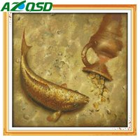 AZQSD Golden Fish DMC Cross Stitch Kits Home Decor Handmade DIY 11CT 14CT Counted Cross Stitch