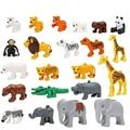 Plástico abs zoo animal creativo diy bloques de construcción para niños compatibles duplo ladrillos juguetes educativos