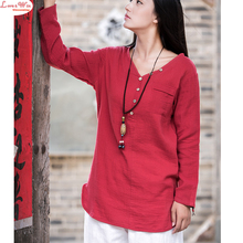 women long sleeve linen blouse, casual mori girl shirt, chinese style pullovers tops