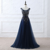 Vestido De Festa Real New Mother Of The Bride Dresses With Beaded Crystal Tulle Party Evening