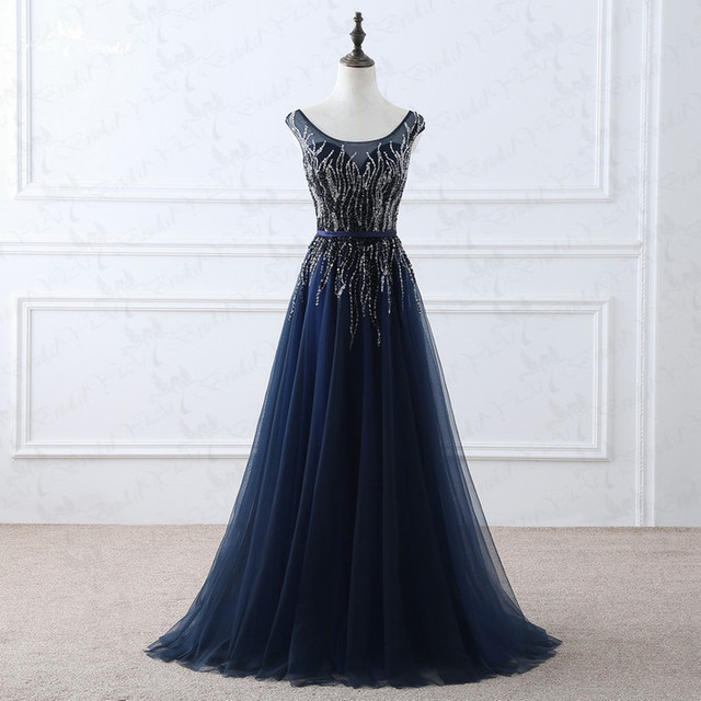 Vestido de festa Real Nueva Madre de la Novia Vestidos con con cuentas de Cristal Del Partido de Tulle Vestidos de Noche 2016 Azul Marino Vestido Largo