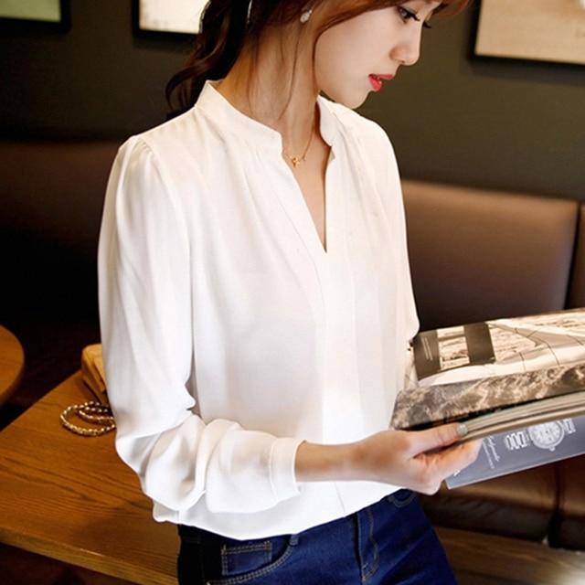 2015 лето женщин шифон блузка дамы Белый элегантный sexy v-образным вырезом блузки с длинным рукавом рубашки женщины офис рубашка плюс размер
