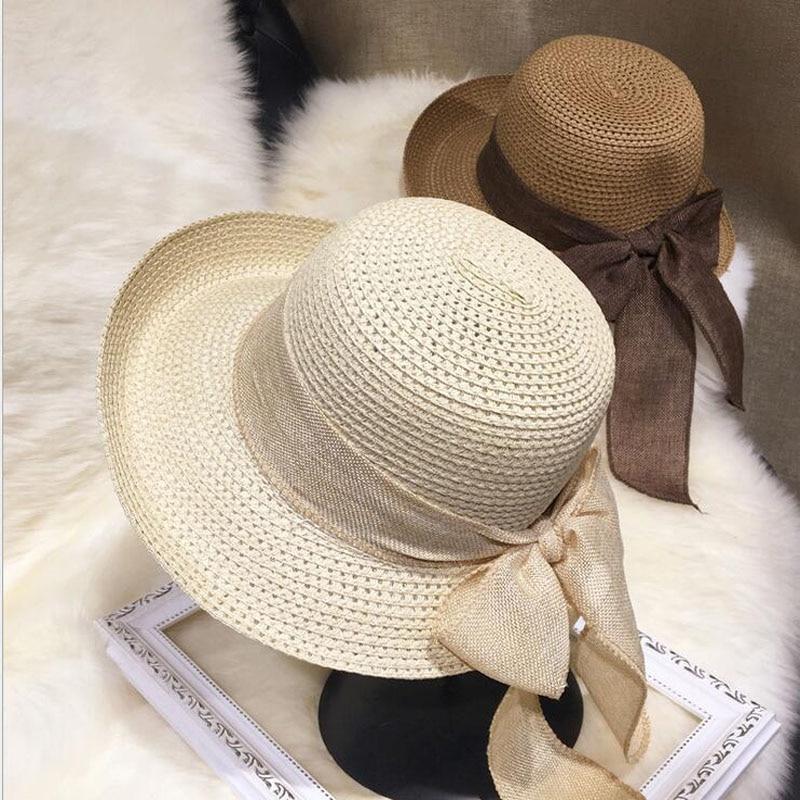 dc17dda08 ... New Fashion Flat Sun Hat Women's Summer bow Straw Hats For Women Beach  Headwear 6Colors chapeau femme Gift. 42% Off. 🔍 Previous