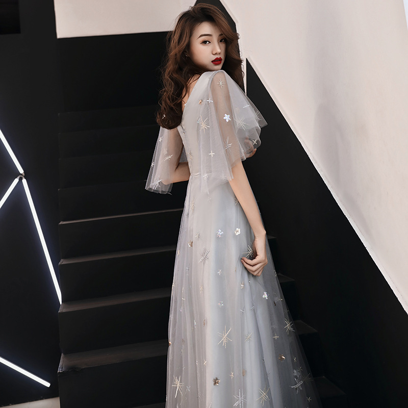 Cutomized Evening Dress Shining Sequins Stars Print Formal Prom Dresses Half Sleeves V neck A line Zipper Long Party Gowns E344 in Evening Dresses from Weddings Events