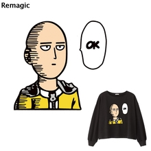 ONE PUNCH MAN Patch Iron on Heat Transfer Printing Patches Stickers for Clothes DIY Appliques Washable A-level Thermal