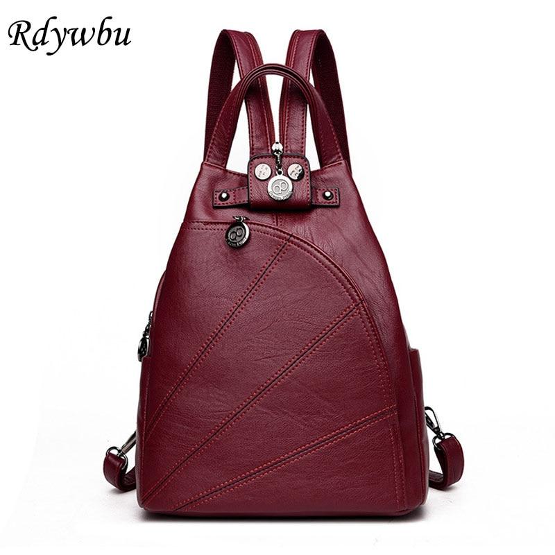 Rdywbu Fashion Anti Theft Small Backpack Teenagers Leisure PU Leather Mini School Bag Girls Travel Back Pack Vintage Bolsas B533