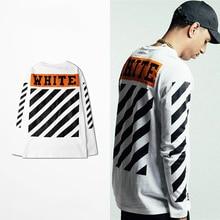 S-XXXL off blanco clásico de la vendimia de impresión camiseta de los hombres y las mujeres de cuello redondo a rayas de manga larga T-shirt High Street