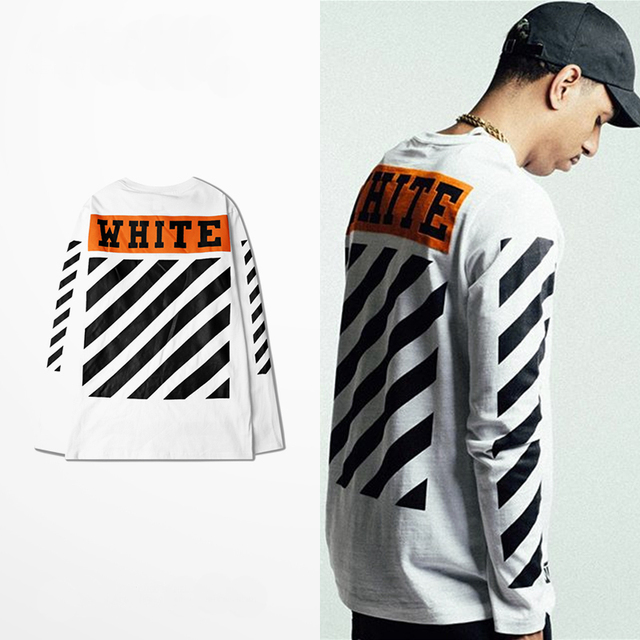 S-XXXL off white classic vintage print tee men and women round neck long-sleeved striped T-shirt High Street