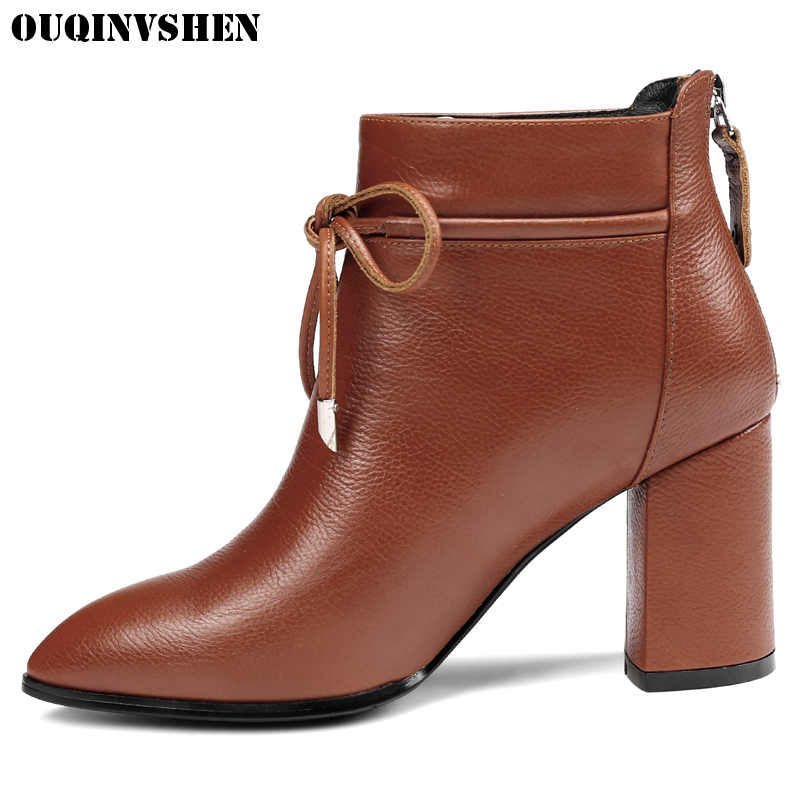 OUQINVSHEN Pointed Toe Square heel Women Boots Zipper Cross Tied Ankle Boots 2017 Casual Fashion Winter High Heels Women's Boots ouqinvshen round toe lace up women boots fashion mixed colors women ankle boots new winter short plush cross tied ladies boots