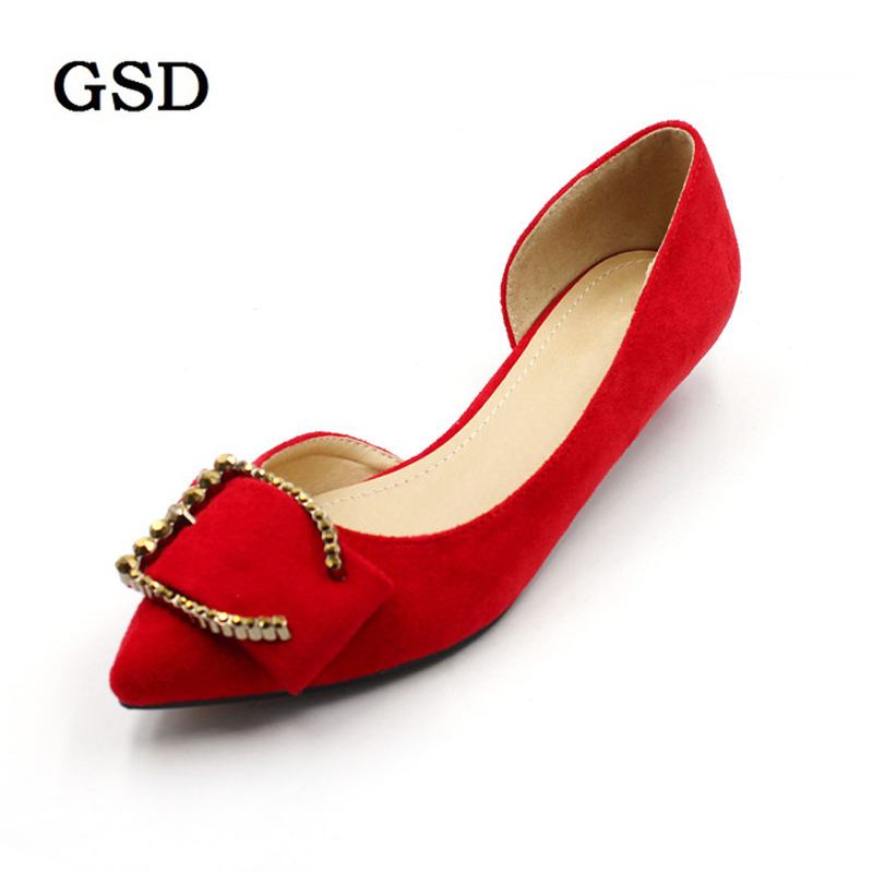 Sexy Pointed Toe Pumps Women s D Orsay Low Heels Flock Metal Decoration Slip On Female