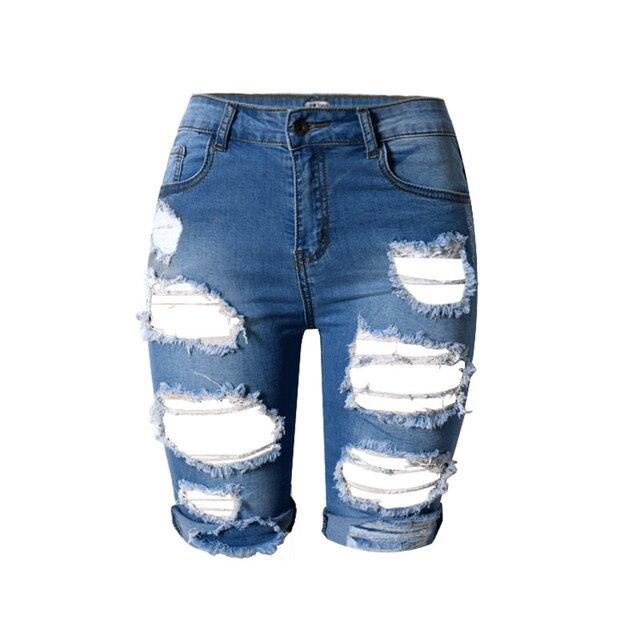S-XXXL 2016 Summer New Slim Skinny Ripped Hole Burrs Cut Off High Waist Knee Length Women Denim Hot Shorts Jeans Plus Size
